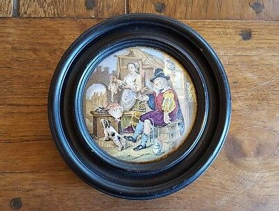 Framed Prattware Lid 'The Poultry Woman'