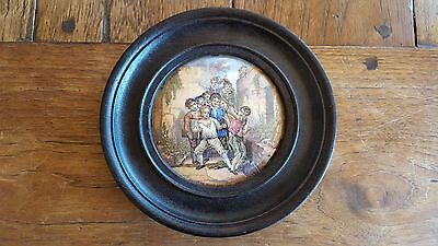 Framed Prattware Lid 'The Wolf and The Lamb'