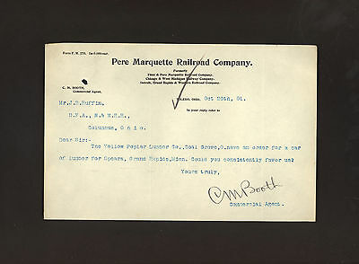 Pere Marquette Railroad * lot of three signed documents 1896 & 1901 * C M Booth