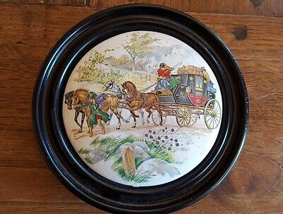 Framed Pot Lid Hunting Scenes