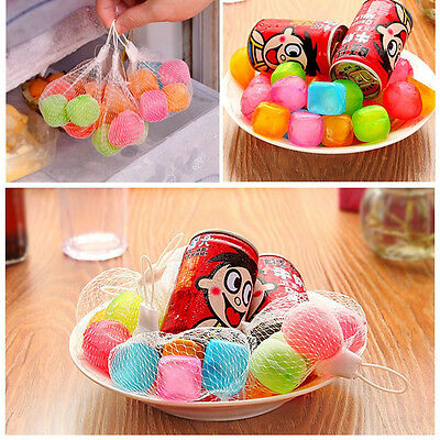 Reusable Multi-colour Plastic Ice Cubes Cold Drinks Bar Fruit Rectangle 6Pcs