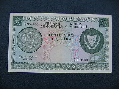 Cyprus Banknote £5 Five Pounds 1-12-1961,excellent Condition