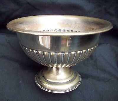 Antique Silver Plated Bowl On Pedestal Foot SQUIRREL BRAND Fluted Sides 15cm Dia