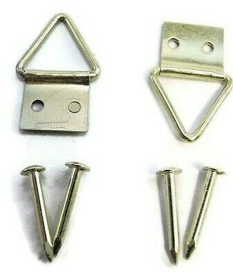 Picture Frame Hooks With Nails Brassed Canvas Triangle Hanger Multi Listing