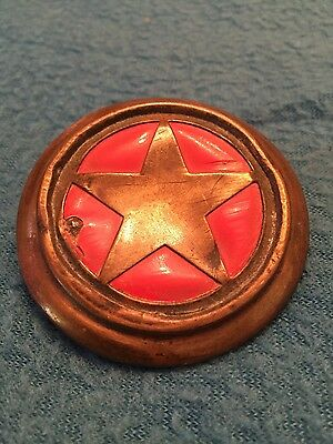 ANTIQUE Horse harness bridle rosette / button-- red with star