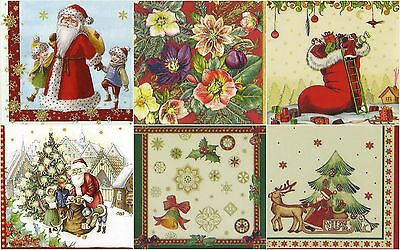 6x Cocktail 25x25 cm Paper Napkins for Decoupage Party Craft Christmas Mix