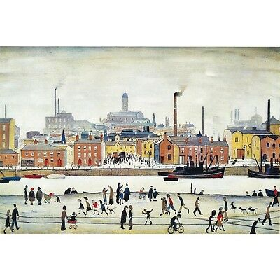L S Lowry - Northern River Scene - MEDICI POSTCARDS