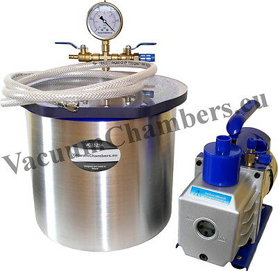 25CM Vacuum Chamber 12.5L + 71l/min Pump Full Set High Quality 1 Year Warranty