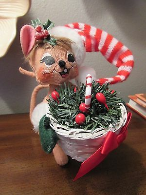 2005 Annalee Doll Christmas Mouse Mice Peppermint Basket