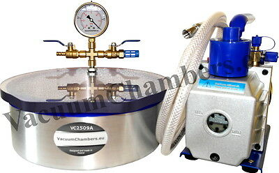 25CM Vacuum Chamber 4.8L + 51l/min Pump Full Set High Quality 1 Year Warranty