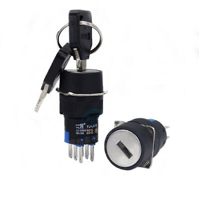 1PCS 16MM On/Off/On Security Key Switch Lock + Keys 3Position 2NO 2NC