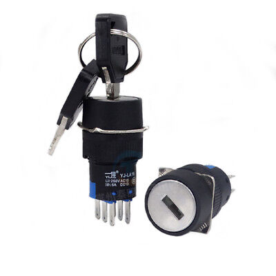 1PCS On/Off/On Security Key Operated Switch Lock + 3 Position Keys16MM 2NO/2NC