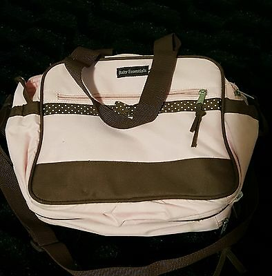 Baby Essentials Duffle Diaper Bag - Pink Brown Compartments Shoulder/Hand Strap
