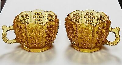 EAPG antique BRYCE Bros. panelled HOBNAIL glass cup 1880s AMBER