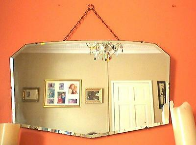 Vintage Large Art Deco Bevelled Edge Frameless Hanging Wall Mirror