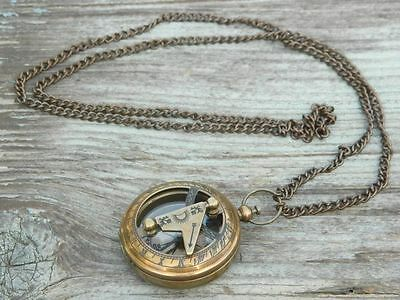 Working Compass Necklace Antiqued Brass Sundial 47mm-Nautical Jewelry