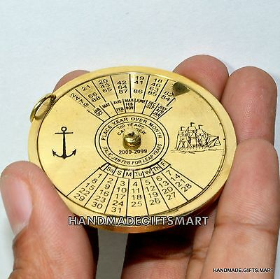 100 Year Perpetual Calendar Pendent Charm Antique Brass Nautical Vintage Style