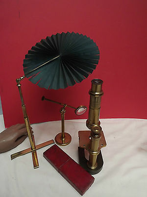 MICROSCOPE [ Candle Fan ] Lacquered Brass { Leather Case } Substage { C1860 }