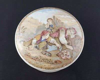 Prattware Lid with Base 'I Can See You My Boy'