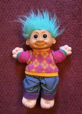 Vintage Large Troll Doll Teal Hair, Sweater and Jeans, No. 259