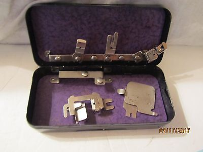 Vintage 5 Greist Sewing Machine Foot Attachments in Rotary Metal Box