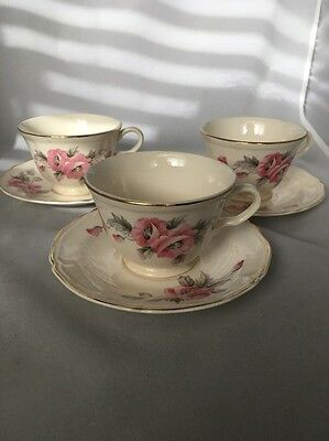 Vintage Edwin Knowles Set Of 3 Cups & Saucers Pink Flowers Pattern 1657-E1