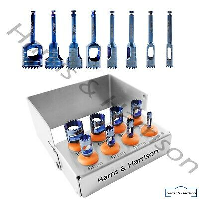 Dental Trephine Drills Kit 8pcs Implant Titanium Coated Blue Incl. Bur Holder