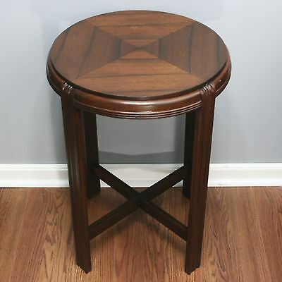 "Vtg 18"" Diameter Wood Art Deco Waterfall Night Round End Side 26"" Tall Table"