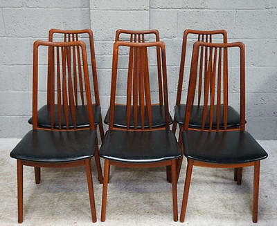 20th century set of 6 teak and leatherette dining chairs.