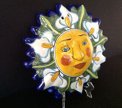 Mexican/Mexico Talavera Pottery Handpainted 11'' Sun Face Wall Hanging Decor