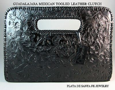 """Guadalajara~Tooled """"BLACK""""~Leather~Evening Style Western/Mexican Clutch"""