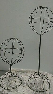 2 Old Vintage Antique Wire Ware Wig Or Hat Store Display Stands Twisted
