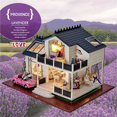Dollhouse Miniature DIY Kit Dolls House With Furniture LED Light and Music Box W