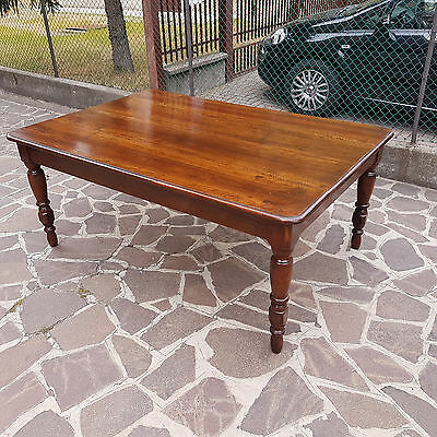 Big Table From Modena In Solid Walnut 1840-50 Original Patination