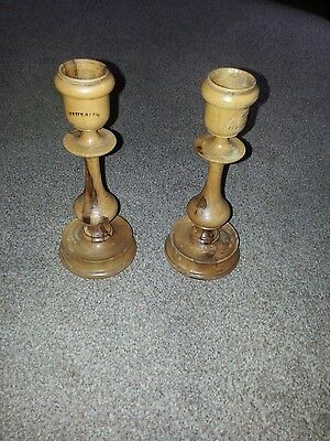 Antique Jerusalem Olive Wood Candle Sticks