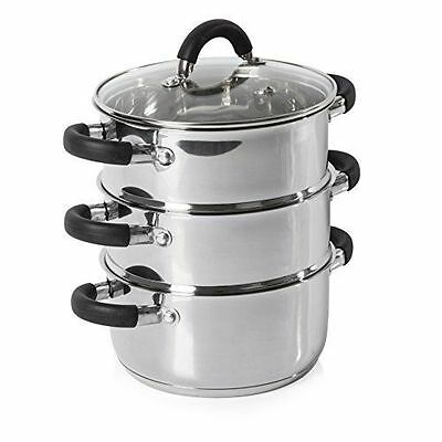 Tower Stainless Steel Induction 3 Tier Steamer Set Silicone Cover Handles 18cm