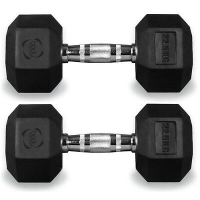 22.5 kg Pair Hex Dumbbells Hexagonal Rubber Encased Weights Gym Fitness Weight