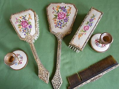 Vintage Petit Point Embroidery Vanity Dressing Table Set 6 Pieces