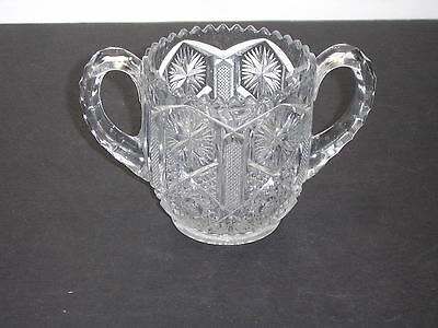 Vintage Imperial #612 Clear Glass Star and File Open Sugar Bowl