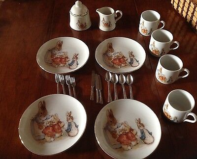 The World of Beatrix Potter Peter Rabbit Reutter Porcelain Child's Picnic Set