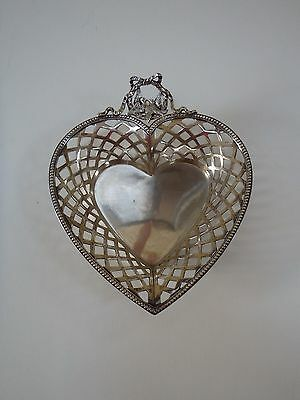 Vintage 800 Silver Pierced Heart Candy Dish/ Bowl~ Love Birds~ Ribbon And Bow