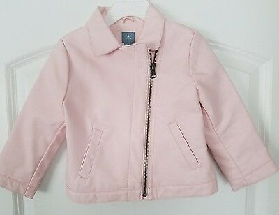 Baby Gap Faux LEATHER JACKET Coat Light Pink Toddler Girl 2T