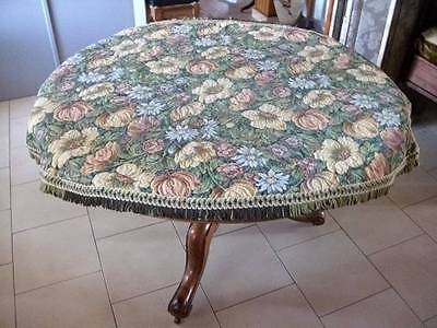 French Chateau Vintage Oval  Jacquard  Tapestry Table Cover