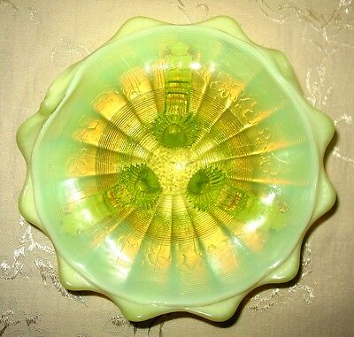 Canary Yellow Opalescent Glass Foote Bowl