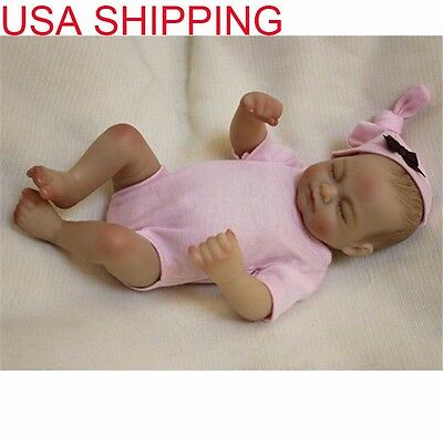 "USA Ship Newborn Handmade 10""Silicone Vinyl Full Body Reborn Baby Girl Dolls"
