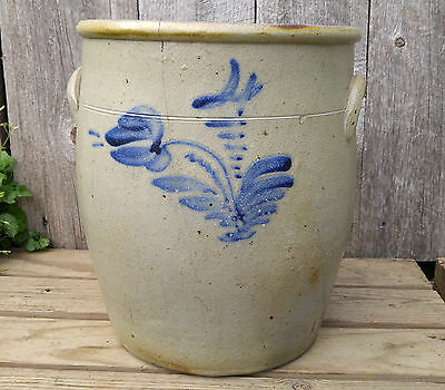 Antique Vtg Primitive 4 Gallon Bachelder? Ovoid Salt Glaze Stoneware Crock