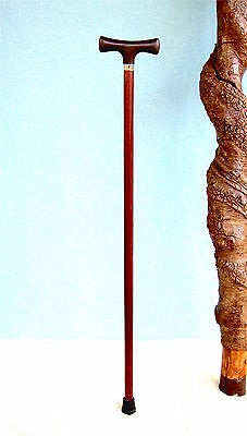 Walking Cane  Hardwood Shaft  Walnut Finish  With T Style Handle
