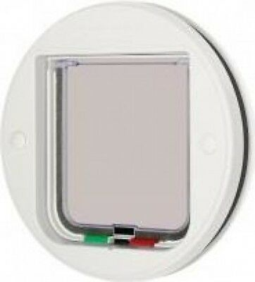 Pet Mate 4-Way Magnet Locking Glass Fitting Cat Flap | White