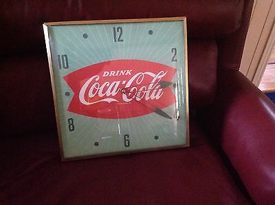 "COCA COLA FISHTAIL ELECTRIC  "" PAM "" CLOCK-1950's ORIGINAL  NICE GRAPHICS"
