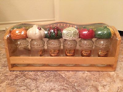 Country Kitchen Wooden Spice Rack Vegetable Farmer Theme